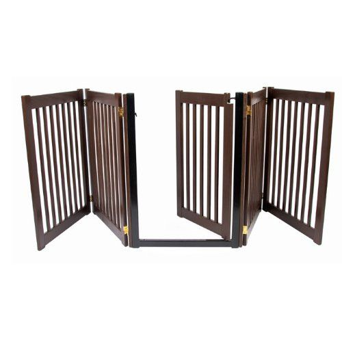 Extra Wide Freestanding Dog Gate With Door
