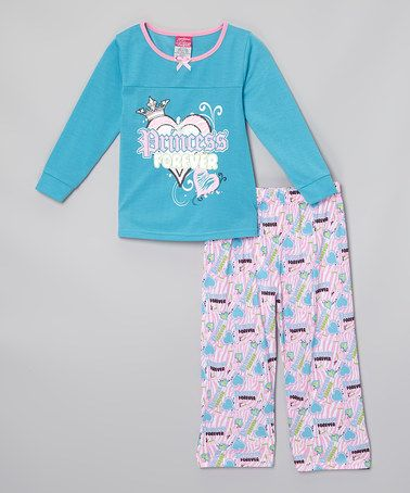 This Aqua 'Princess Forever' Pajama Set - Infant & Girls by Tuff Cookies is perfect! #zulilyfinds
