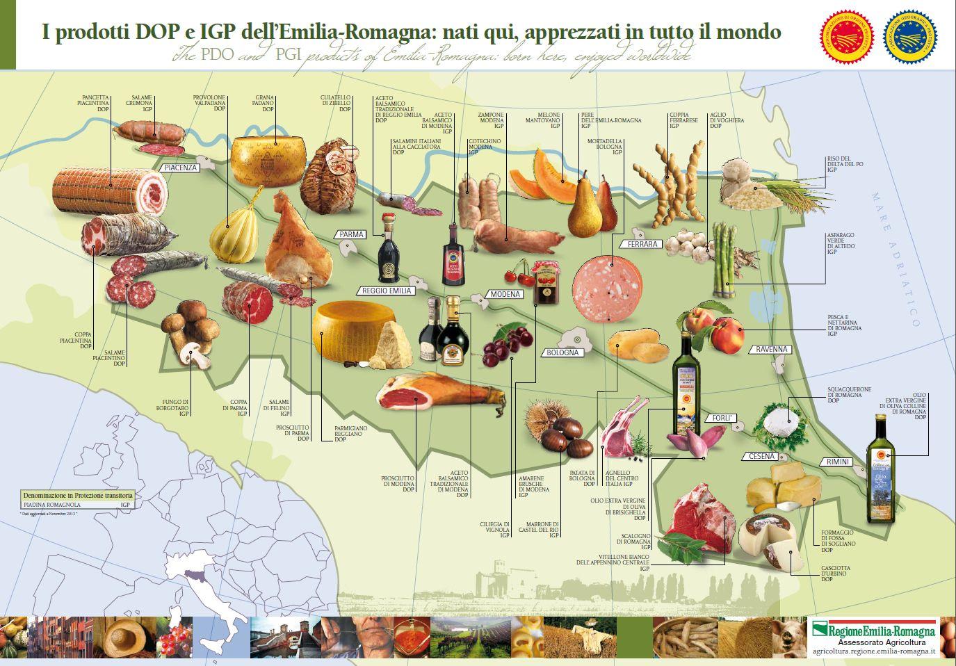 I prodotti DOP e IGP dell'Emilia-Romagna