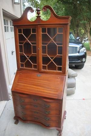 Maddox Colonial Mahogany Secretary Desk And Bookshelf 4 Drawer With