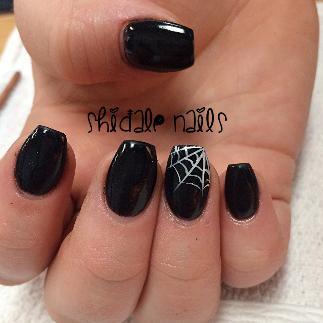 Simple Halloween Nails Black Coffins And Cobwebs Shidale Nails Halloween Nails Halloween Nail Designs Black Halloween Nails
