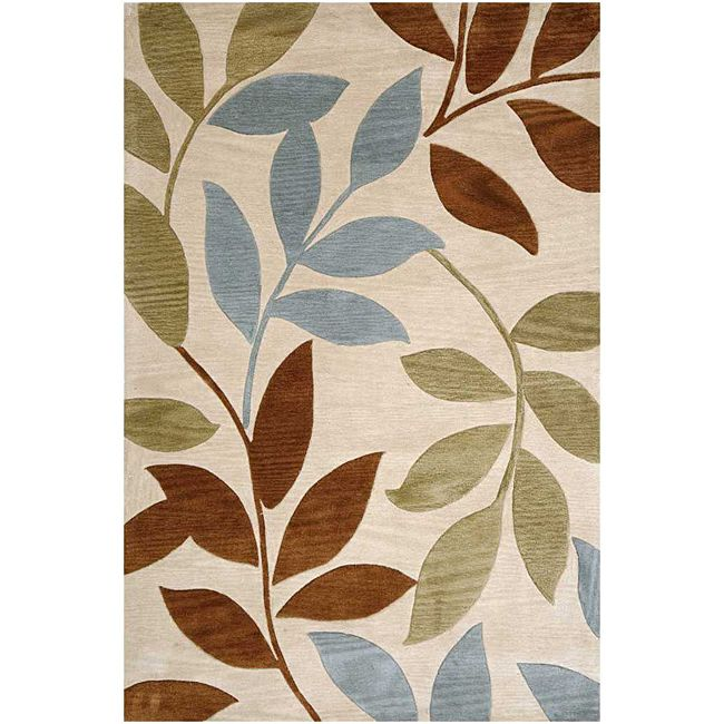 Enhance The Look Of Any Interior Room With This Beautiful Hand Tufted Area Rug Featuring A Contemporary Oversized Leaf Pattern In Shades Ivory Brown