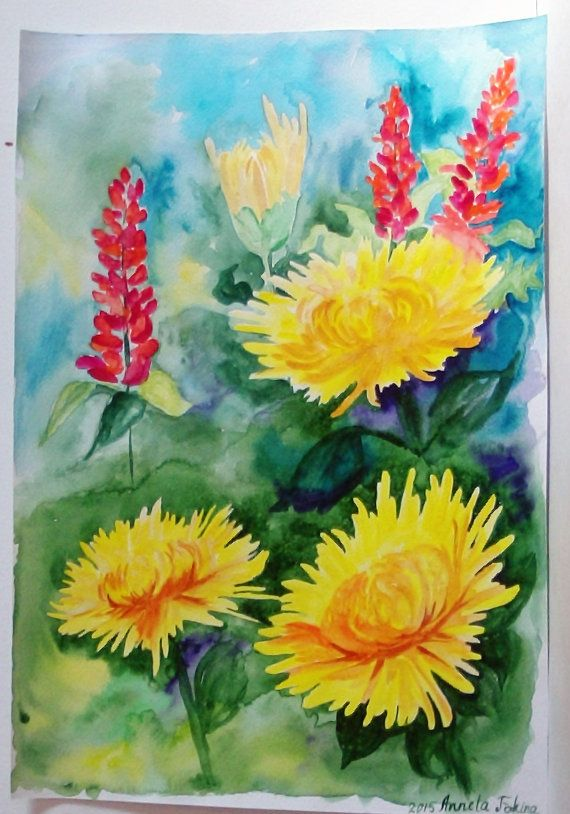 Flower art watercolour Gift for her colorful painting flower ...