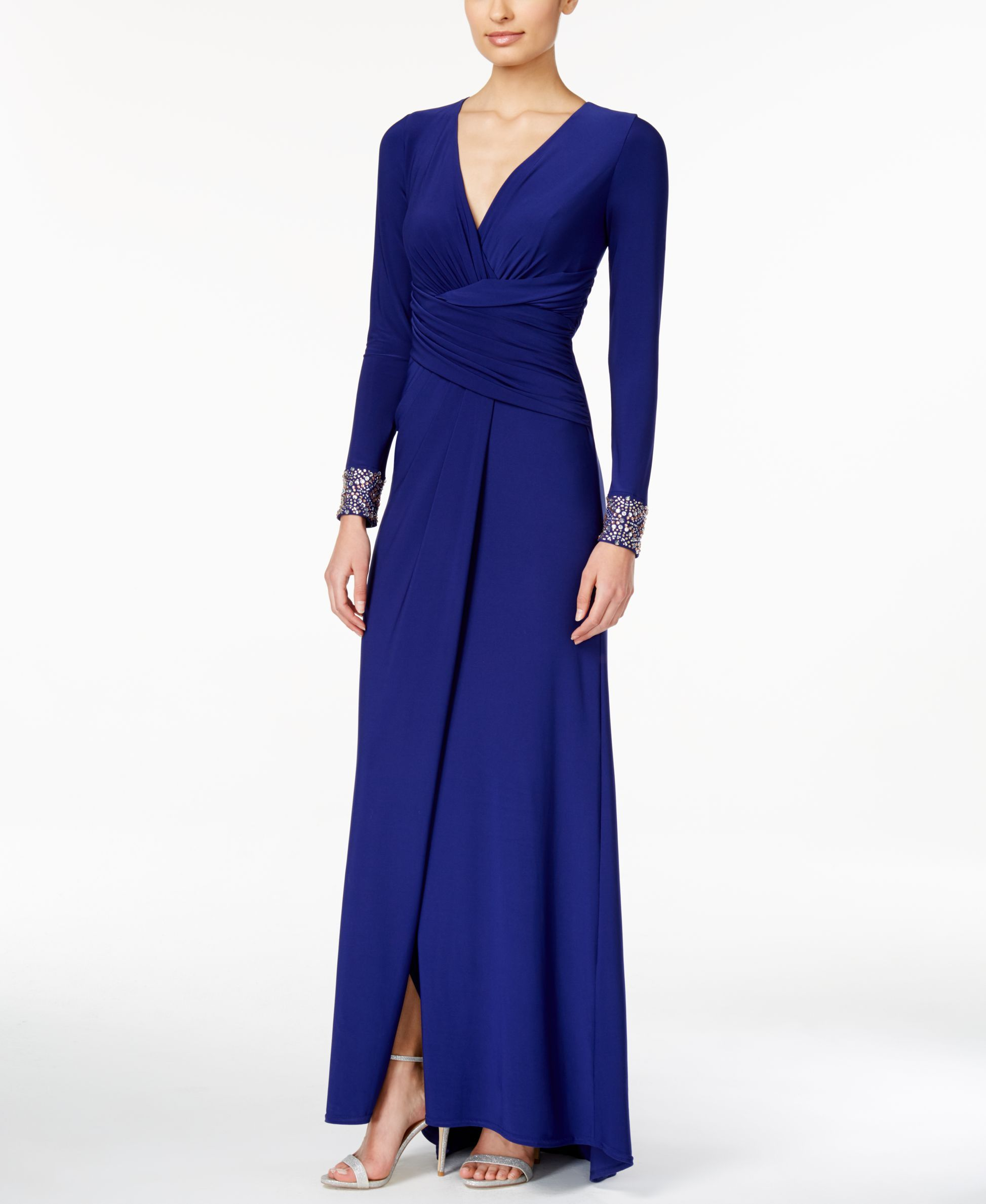Vince camuto longsleeve embellished fauxwrap gown favoritos
