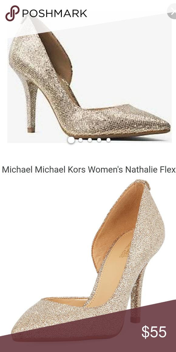3ab3686c3635 Michael Kors nathalie flex high pump glitter gold MICHAEL Michael Kors  glitter mesh pump. 3.5