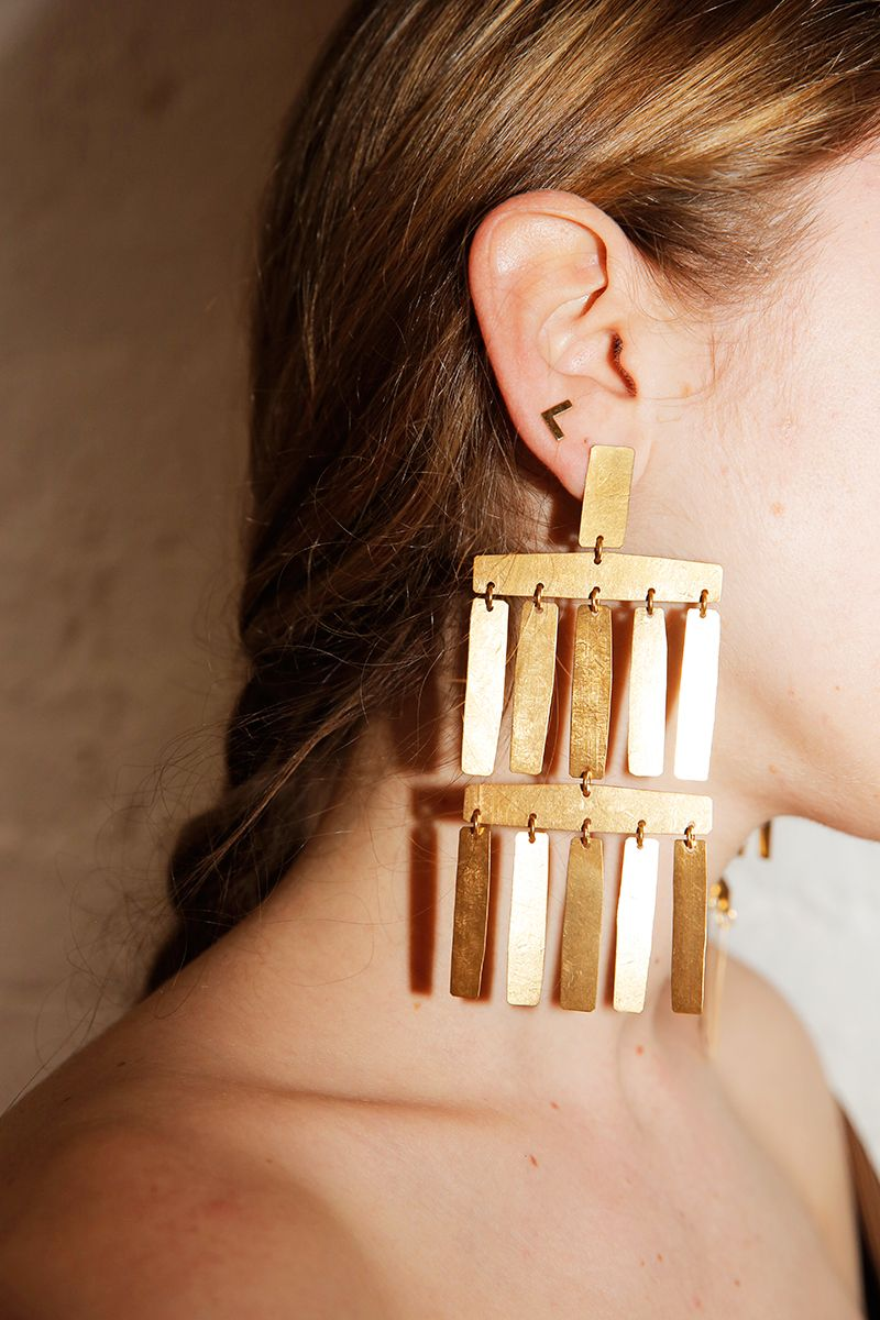 Annie Costello Brown Roma Gold-tone Earrings