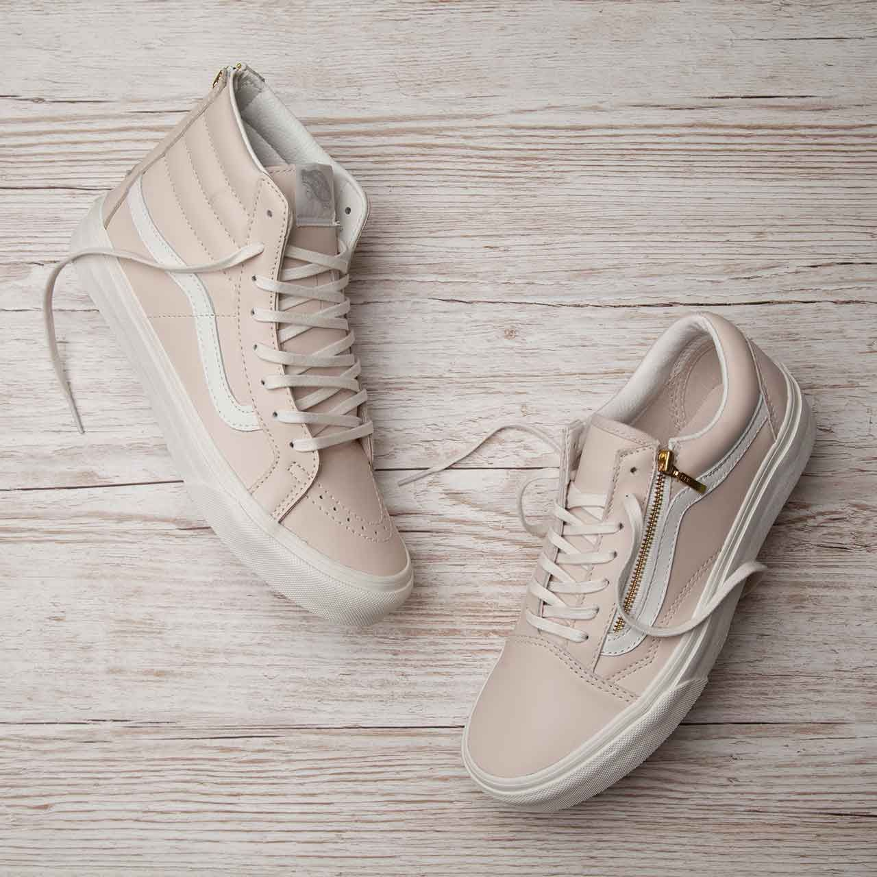 vans rose gold old skool trainers