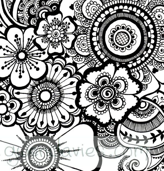 Beautiful Henna Flowers And Paisleys Colouring In Sheet Etsy Flower Henna Abstract Coloring Pages Paisley Color