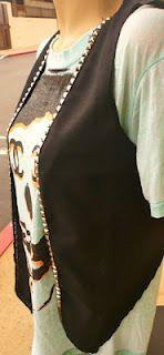 black studded lapel vest