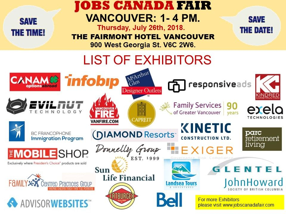List of Hiring Companies for Vancouver Job Fair July 26th