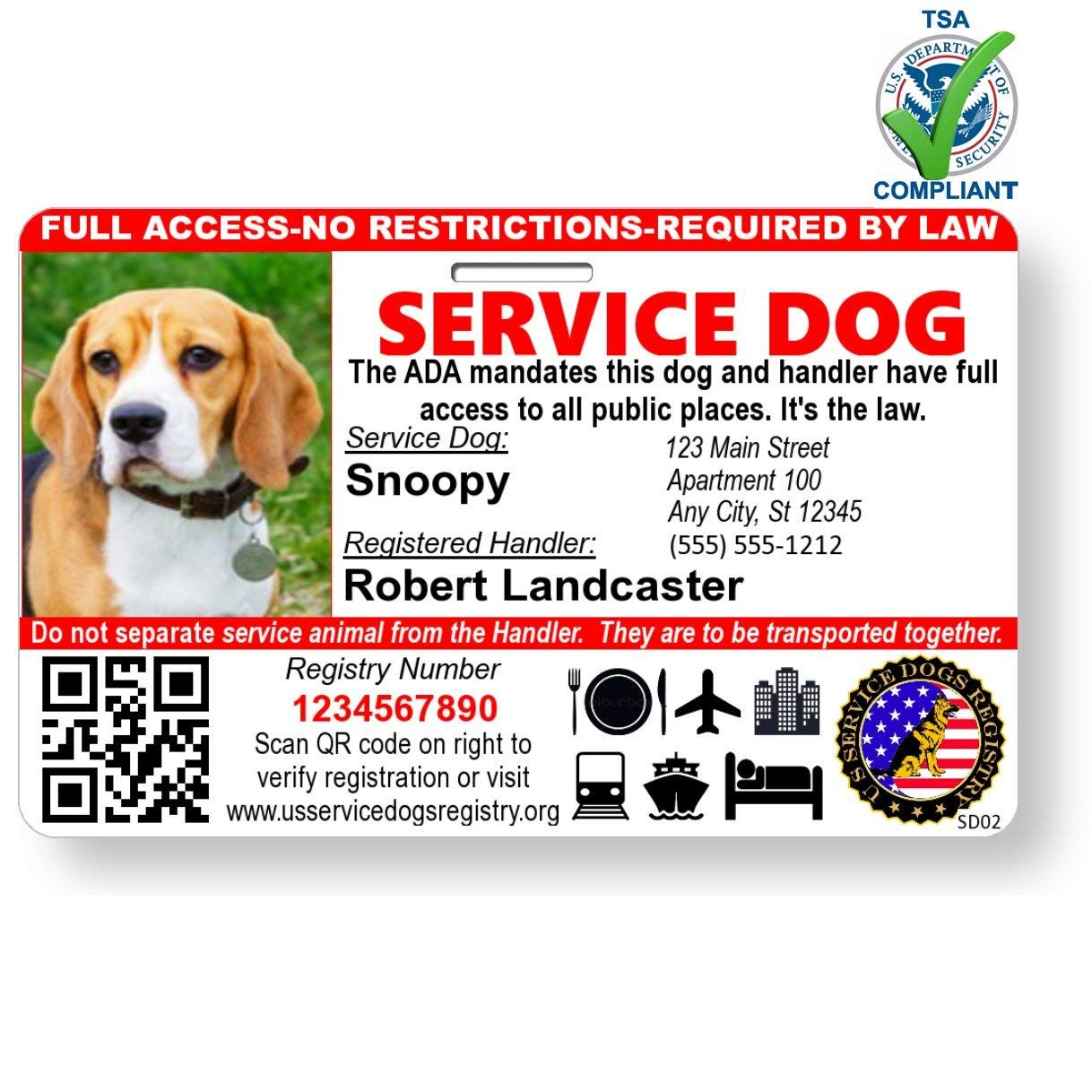 Just 4 Paws Custom Holographic Qr Code Service Dog Id Card With Registration To Service Dogs Registry With Strap Landscape S Dog Id Service Dogs Dog Tags Pet