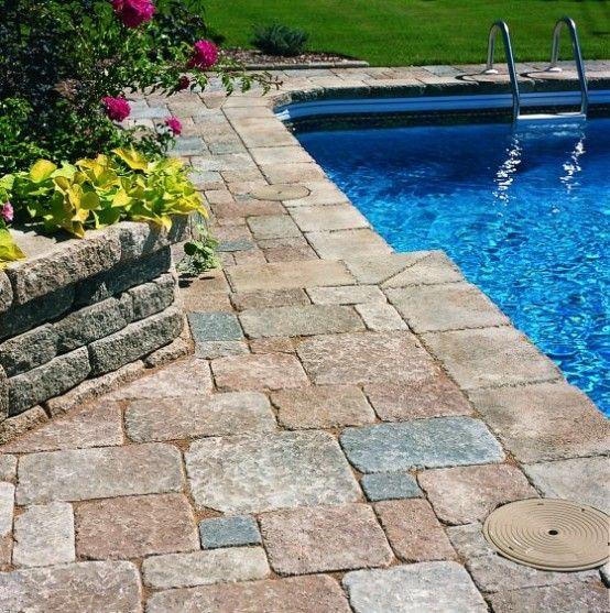 25 Stone Pool Deck Design Ideas Stone Pool Deck Stone Pool Pool Pavers
