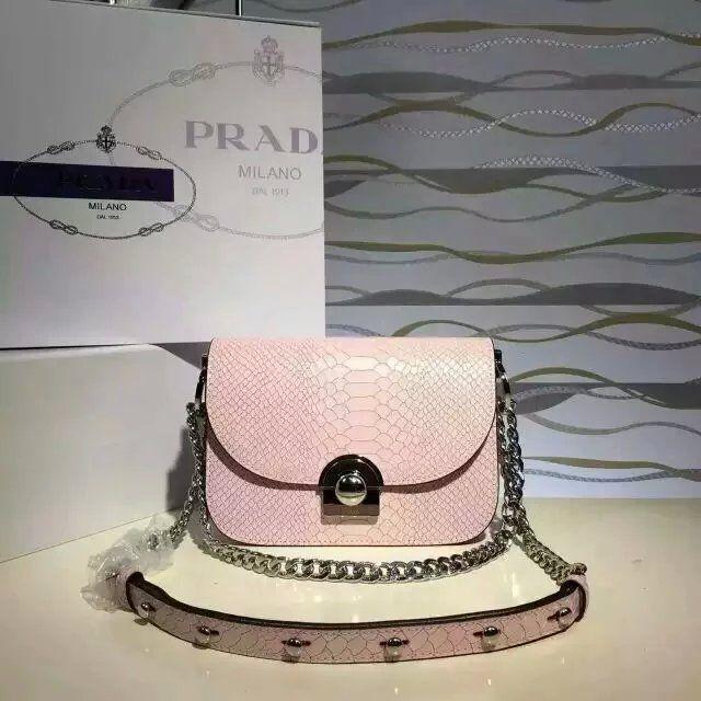 2016 Spring Summer Prada Arcade Shoulder Bag in Pink Snake Leather
