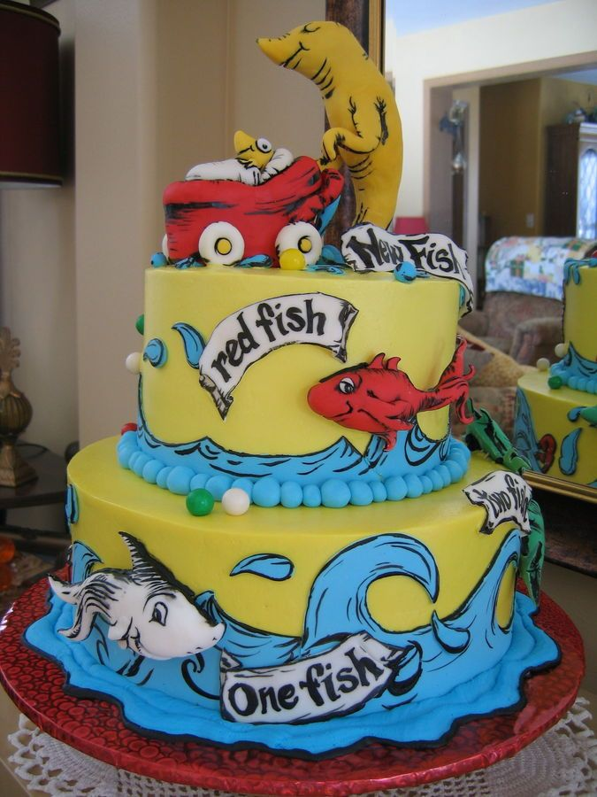 Charming Dr. Seuss Baby Shower Cake: U0027One Fish, Two Fish, Red Fish