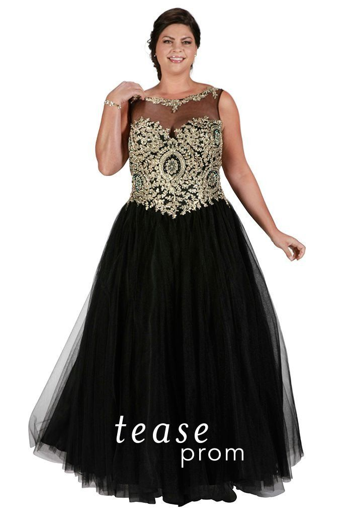 Sydney\'s Closet Tease Prom Dress #TE1720 Black and Gold size 26 ...