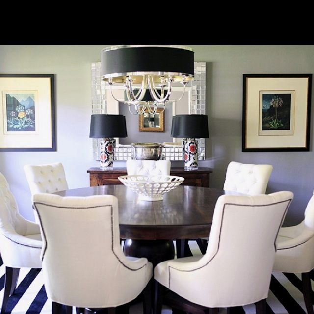 Round Dining Table & White Chairs Though I Think These Chairs Are Unique Mosaic Dining Room Table Inspiration