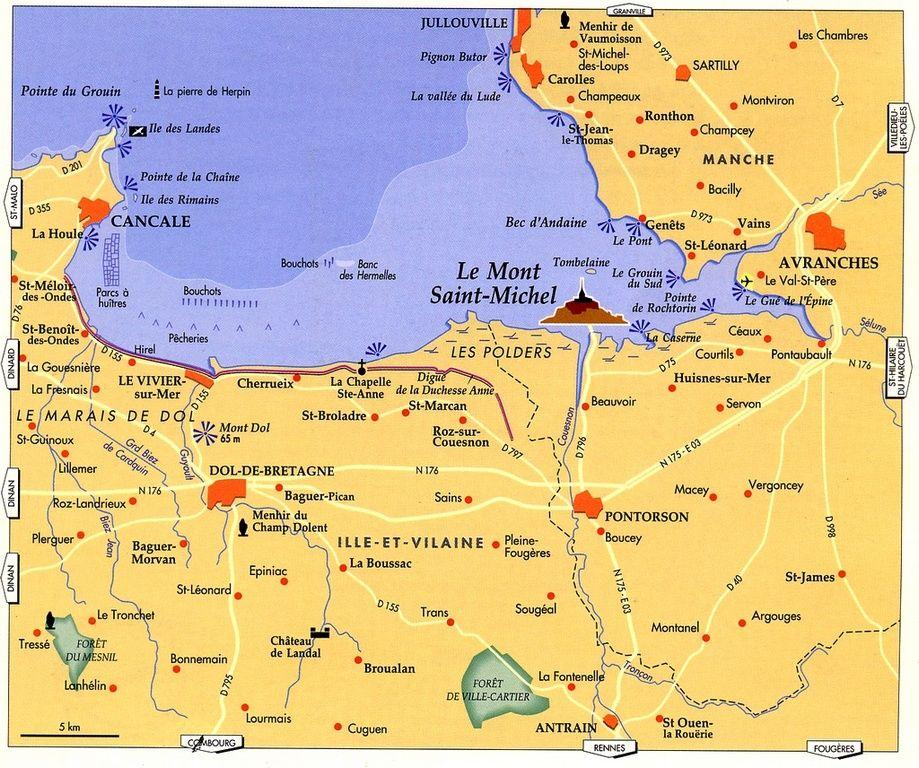 carte mont st michel Mont Saint Michel | The dedication} Dédicace de la basilique du