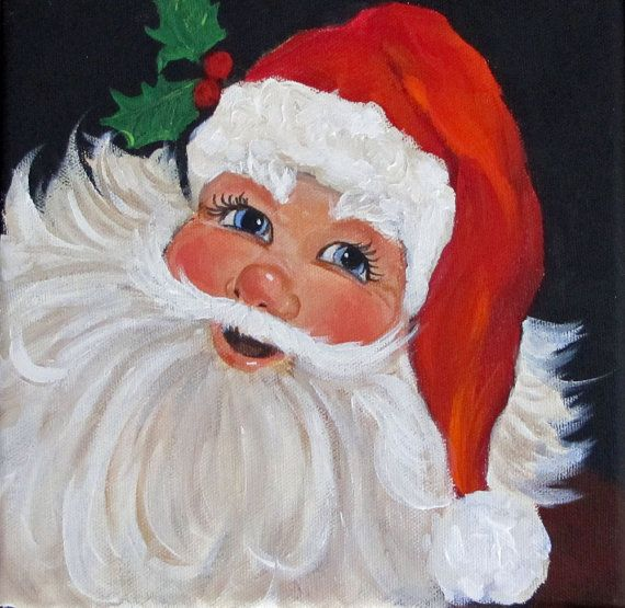Traditional Santa Clause Portrait Painting 10x10 By Chatterboxart Christmas Paintings Santa Paintings Holiday Painting