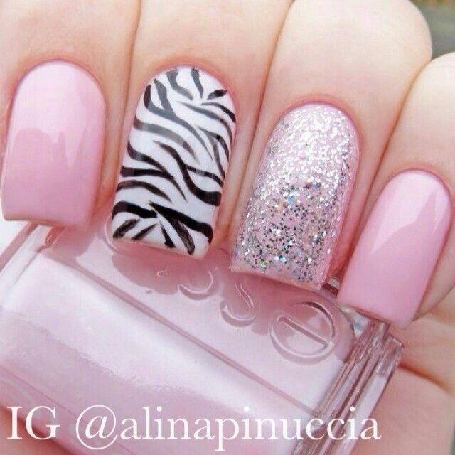 Soft pink with glitter and zebra black stripes