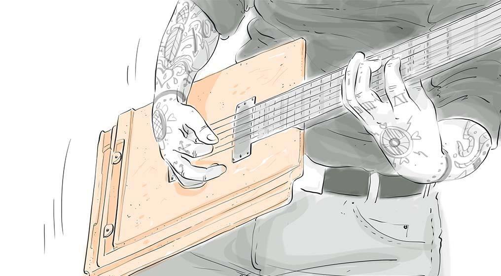 Kresleny Obrazek Kytary Kalendar Tondach Kytara Cervenec