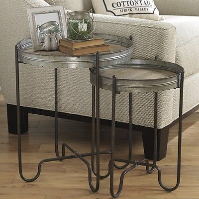 Galvanized Metal Wood Nesting Tray Tables S 2 End Tables