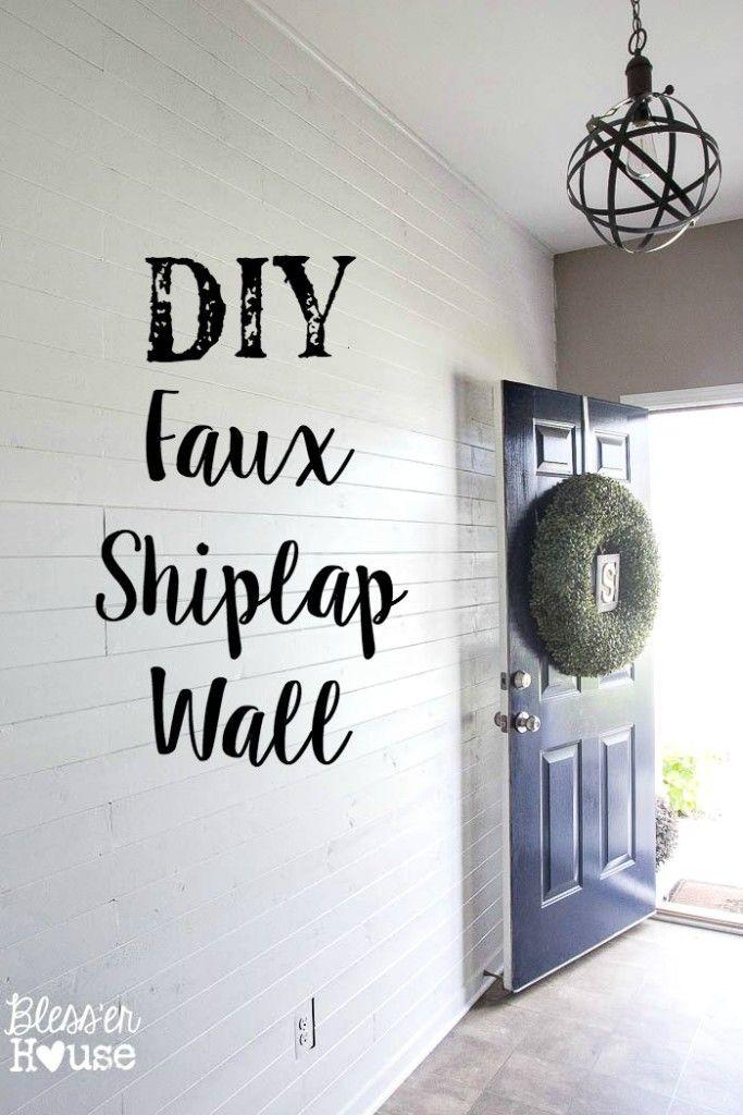 Diy Faux Shiplap Wall Faux Shiplap And Plywood