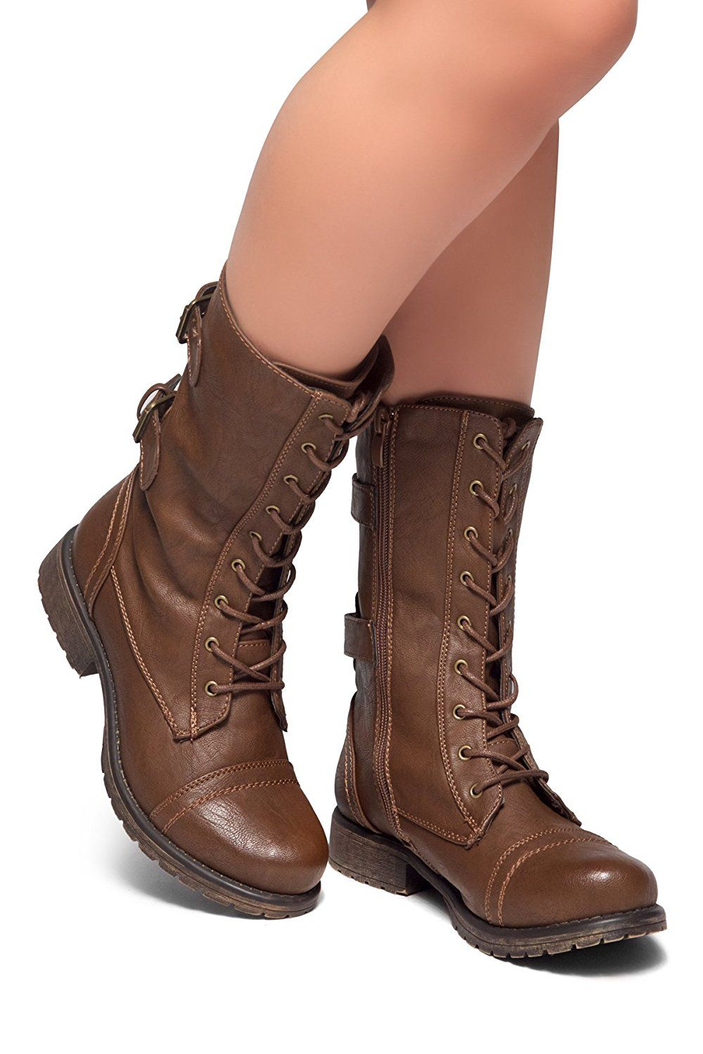 43629fe0f Herstyle Florence2 Women's Military Ankle Lace Up Buckle Combat Boots Mid  Knee Booties. Abby has a pair very similar to these, seen in S08E15