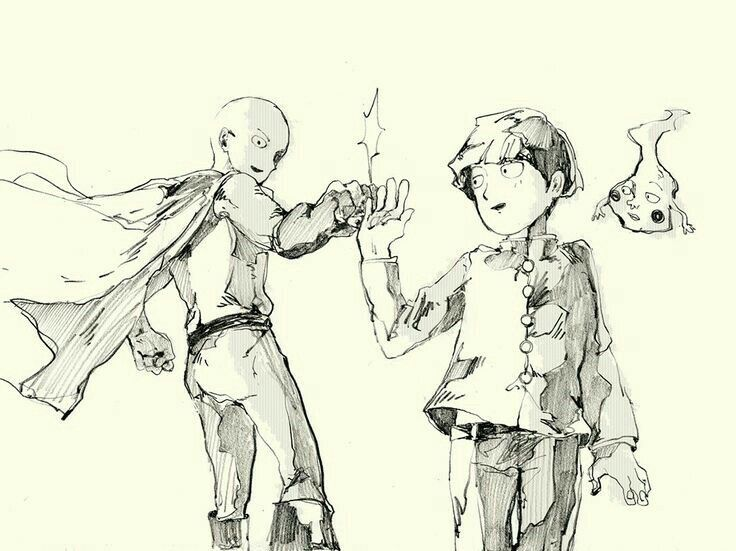 One Punch Man Mob Psycho 100 Crossover Saitama Mob Dimple Fist Bump Anime Mob Psycho Anime Crossover Mob Psycho 100