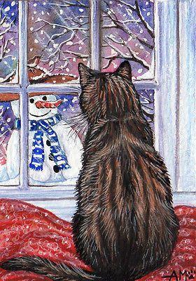 Original-Aceo-by-Artist-Artist-Anne-Marsh-Tabby-Cat-Winter-Snowman