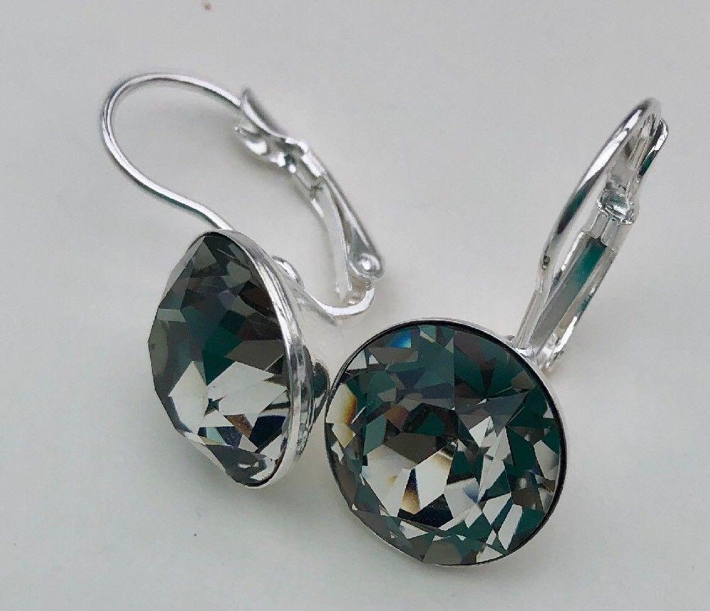 Bella Swarovski Crystal Black Diamond Earrings In Silver Plated Black Diamond Earrings Custom Jewelry Earrings