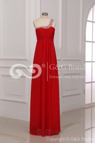 One Shoulder Zipper Empire Sleeveless Red Celebrity Inspired Evening Dresses - (GGENEV0280) $169.00 | GrandGown.com
