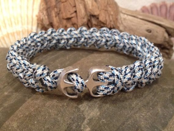 Nautical Sailing Bracelet Rope Surfer Beach Paracord With Silver Anchor Clasp