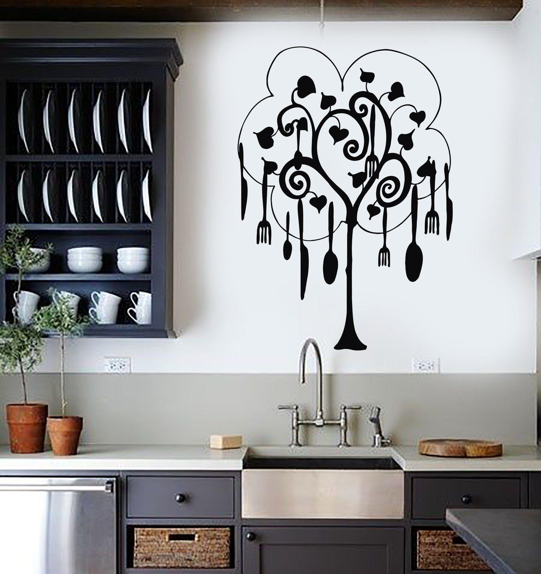 Vinyl Wall Decal Tree Cutlery Kitchen Restaurant Housewife Art ...