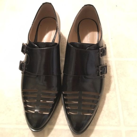 SALE Buckled flats Black Oxford style shoes with two side buckles by Saks fifth. Great with boy friend jeans! Shoes Flats & Loafers