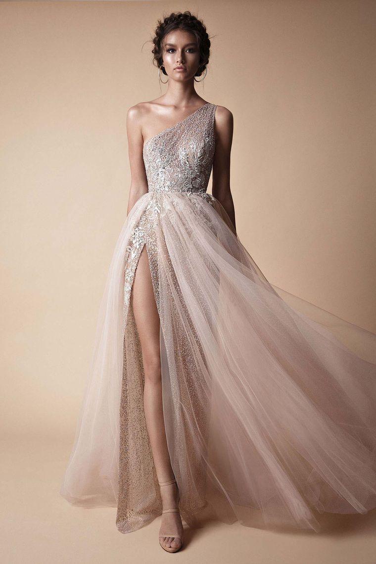 63e9c2a8cbd 2018 One Shoulder Prom Dresses Tulle & Sequin With Slit US$ 189.99  KKPLASQEYE - KikiProm.com for mobile