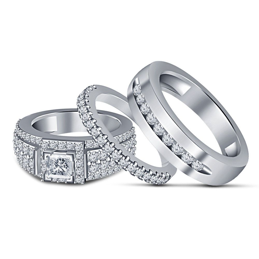 14k white gold over diamond engagement bridal his and her