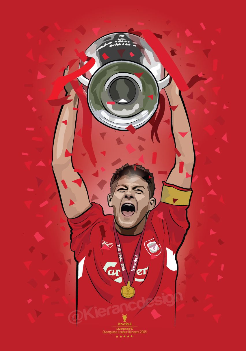 576fd293c Steven Gerrard lifting the Champions league trophy after that infamous  night in Istanbul in 2005. Prints now available from my etsy store  gerrard   istanbul ...