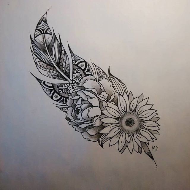 Tattoo Commission For Lucia Feathers And Flowers And All The Pretty