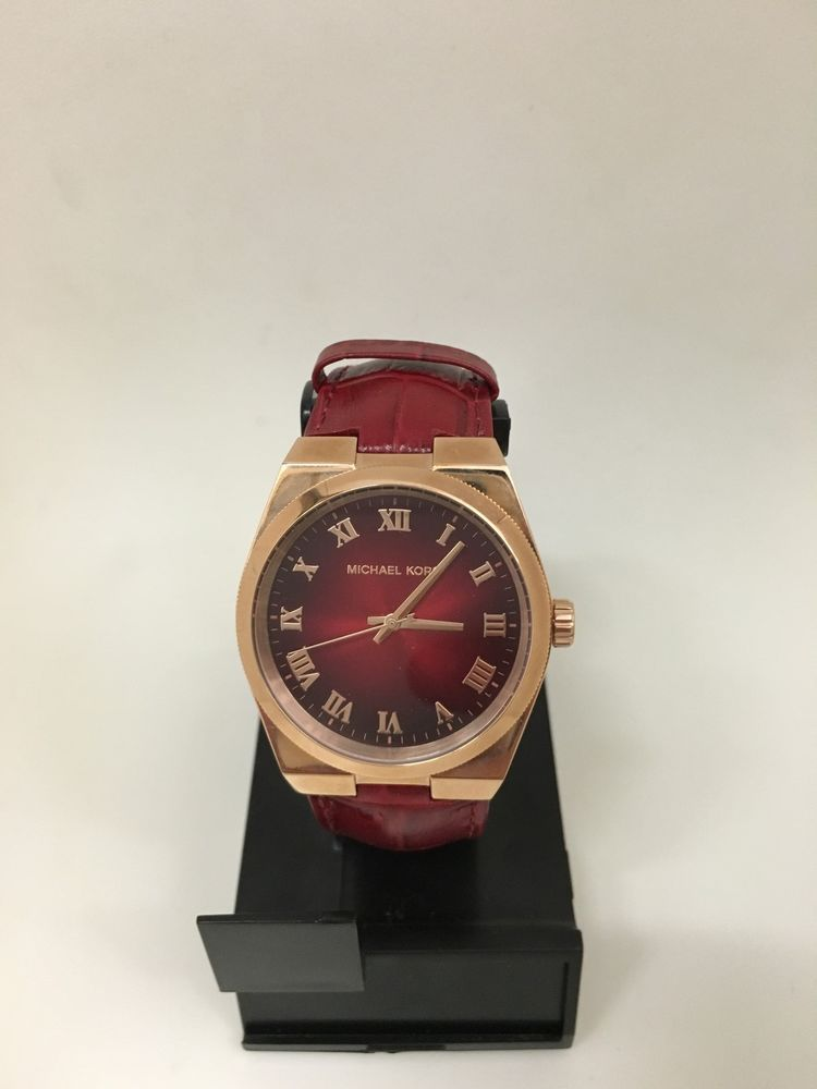 5b87f327a71a Michael Kors Channing Womens Red Dial Leather Strap Watch MK2357   MichaelKors  Casual