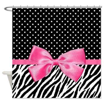 Zebra Polka Dot Pink Ribbon Shower Curtain
