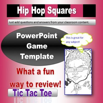Hip Hop Squares Powerpoint Game Template  Tic Tac Toe Game Tic