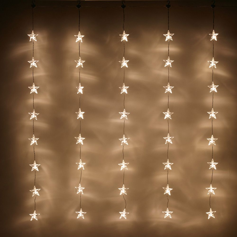 40 Warm White Led Star Curtain Light Christmas Window Lights