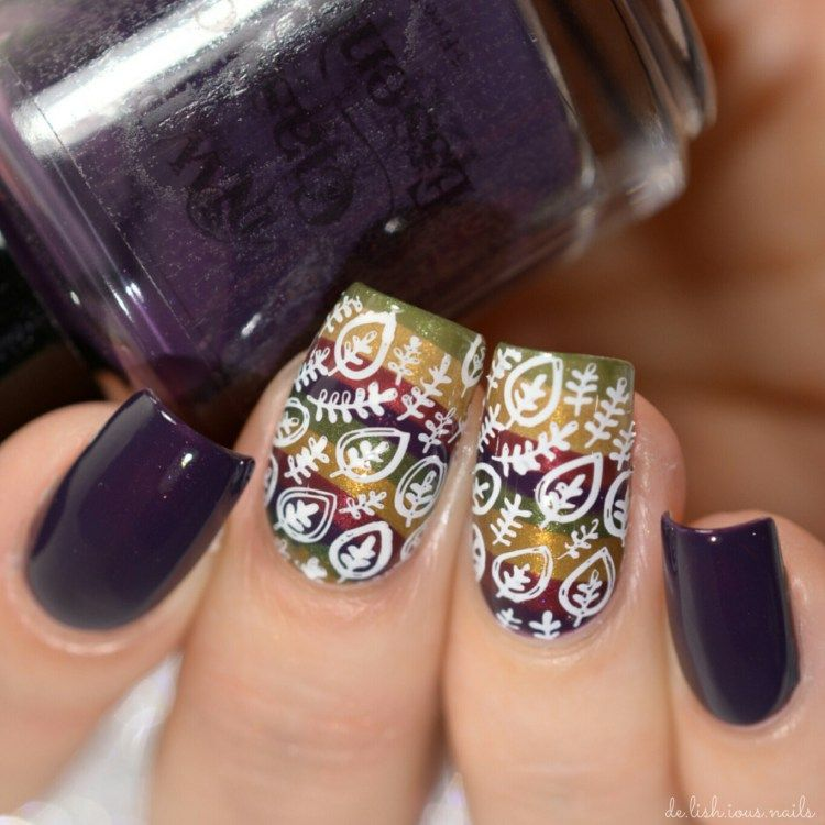Water Marble Nail Art With A Stamping Nail Design On Top Perfect