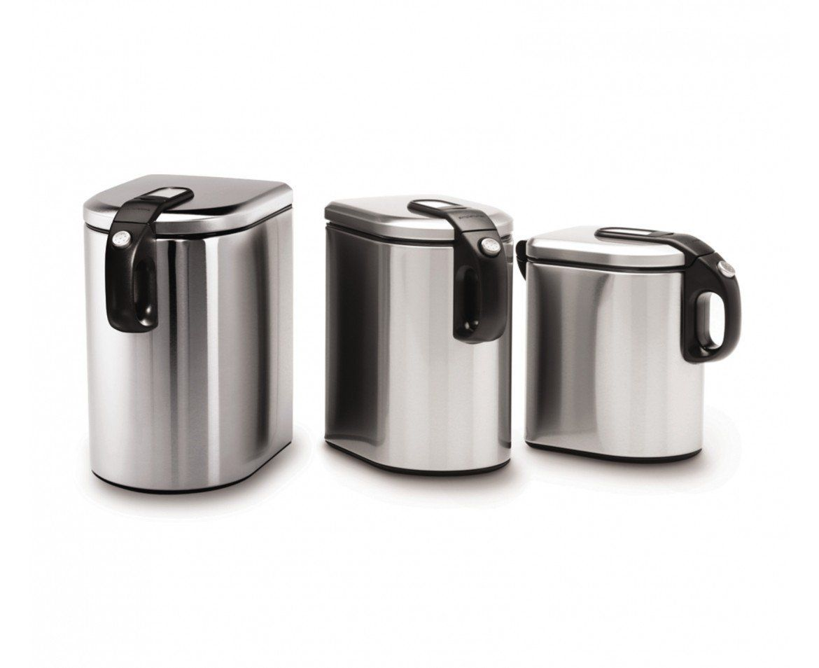 stunning Oggi White Canister Set Part - 6: stainless steel oggi piece canister set with kitchen canisters