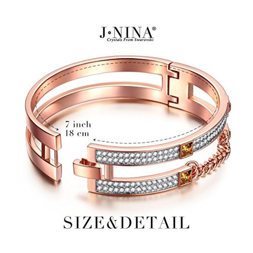 Valentines day gifts jnina rose gold plated women bangle bracelet