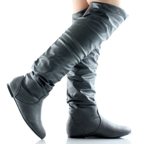21bb745df59 Womens Thigh High Boots Over The Knee Slouch Flat Heels Winter Snow ...