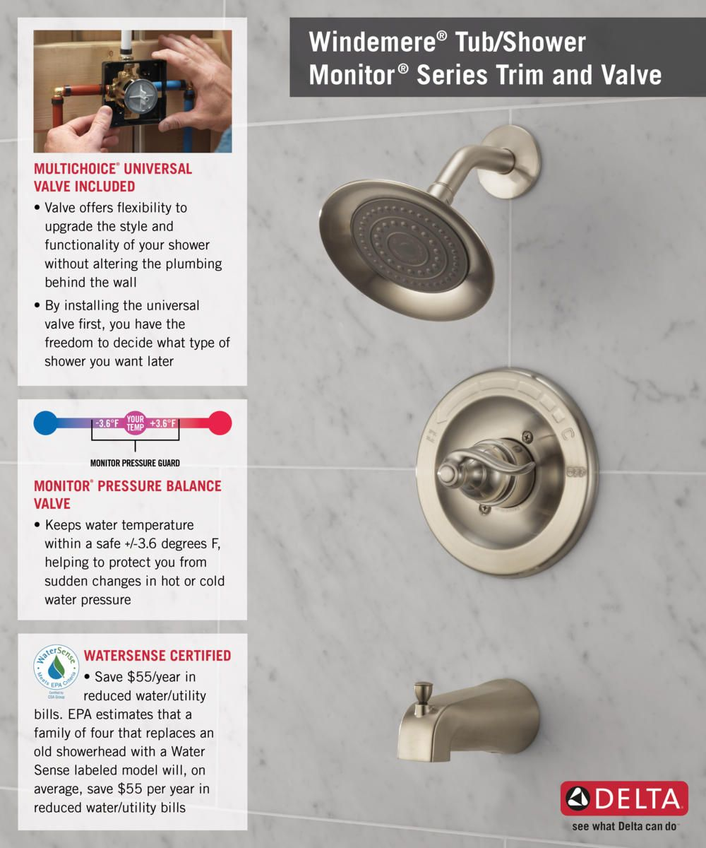 Delta Windemere Single-Handle 1-Spray Tub and Shower Faucet in ...