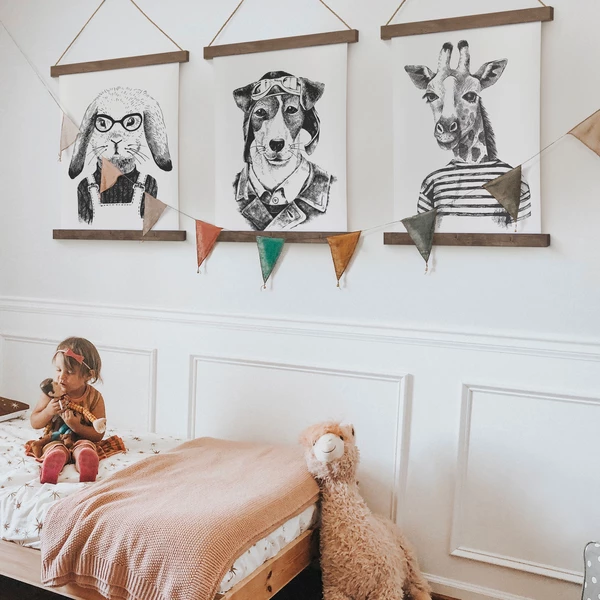 Animal Prints In 2020 Hanging Canvas Kid Room Decor Hanging Rail