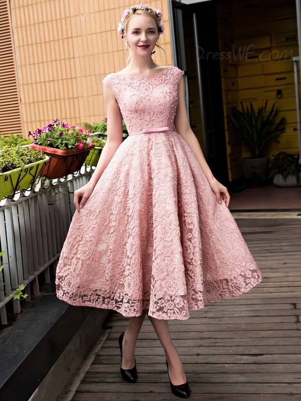 6258ce4281bbe Fancy Vintage Bateau Neck Tea-Length Lace Prom Dress | Sophie ...