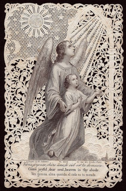 "Guardian Angel Holy Card -- ""Come joyful, dear soul. Heaven is thy abode."""
